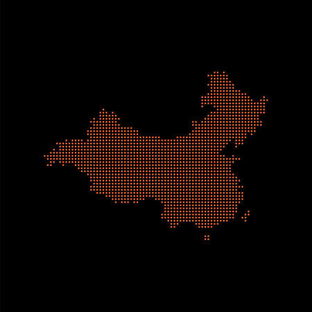 Pixel mosaic map of China. Halftone design. Vector illustration. Eps 10.  イラスト・ベクター素材