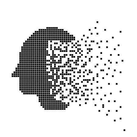 Head icon in disappearing, dotted halftone. Vector illustration. Eps 10.