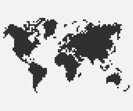 Pixel mosaic map of World. Halftone design. Vector illustration. Eps 10.