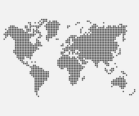 Dotted map of World. Halftone design. Vector illustration. Eps 10.