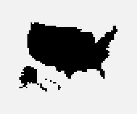 Pixel mosaic map of USA. Halftone design. Vector illustration. Eps 10.