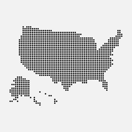 Pixel mosaic map of USA. Halftone design. Vector illustration. Eps 10.