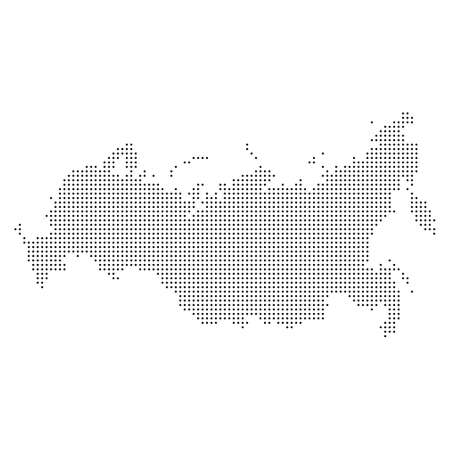 Pixel mosaic map of Russia Kingdom. Halftone design. Vector illustration. Eps 10.