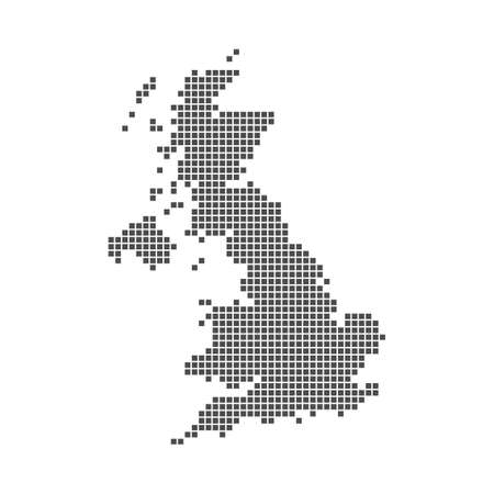 Pixel mosaic map of United Kingdom. Halftone design. Vector illustration. Eps 10.
