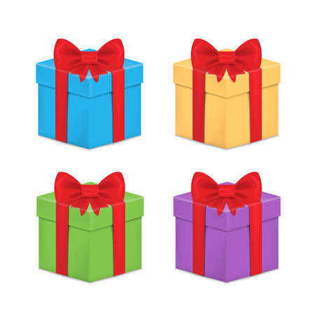 Set of Gift box with ribbon and Bow. Vector illustration.  イラスト・ベクター素材