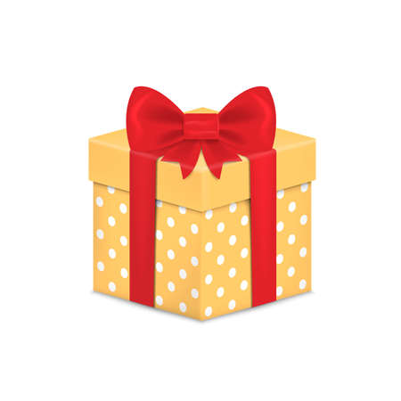 Gift box with ribbon and Bow. Vector illustration.