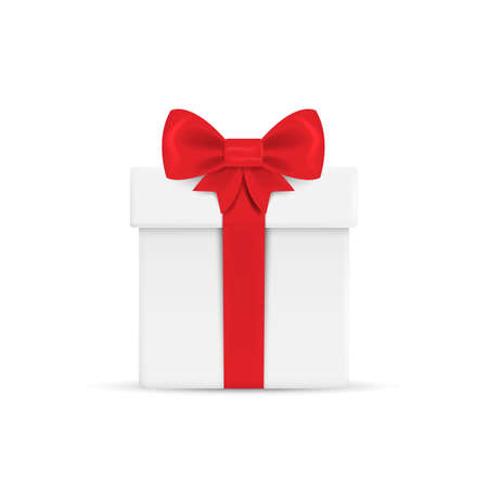 Gift box with ribbon and Bow. Vector illustration Ilustração