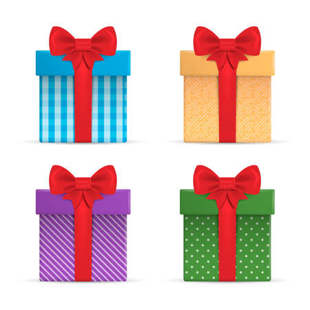 Set of Gift box with ribbon and Bow. Vector illustration. Ilustração