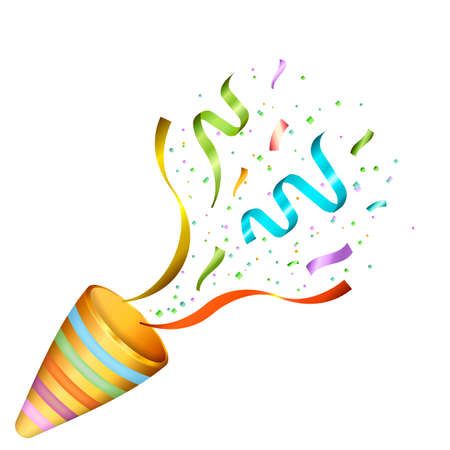 Exploding party poppers with confetti. Vector illustration.