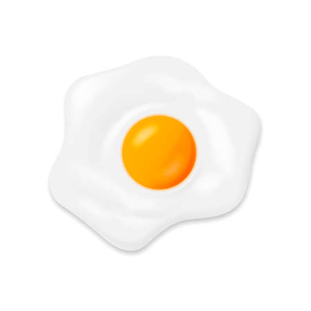 Fried egg isolated on white background. Vector illustration.