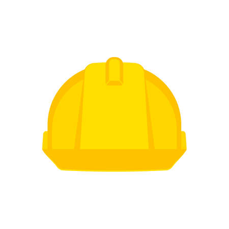 Yellow safety construction helmet. Front view construction helmet Vector illustration.