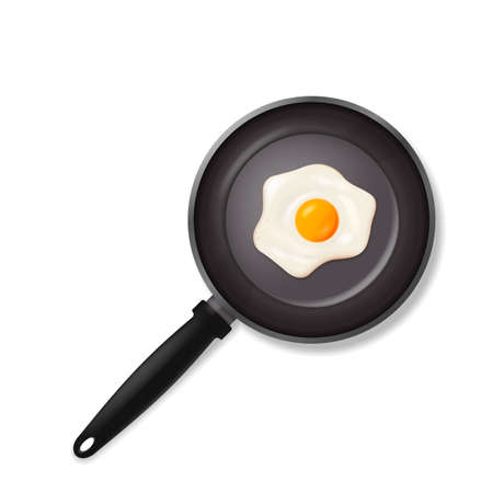 Pan with fried egg. Cooking foods. isolated on white background. Vector illustration. Ilustração