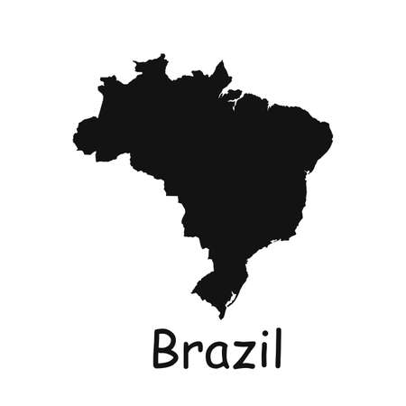 brazil map icon isolated on white background.