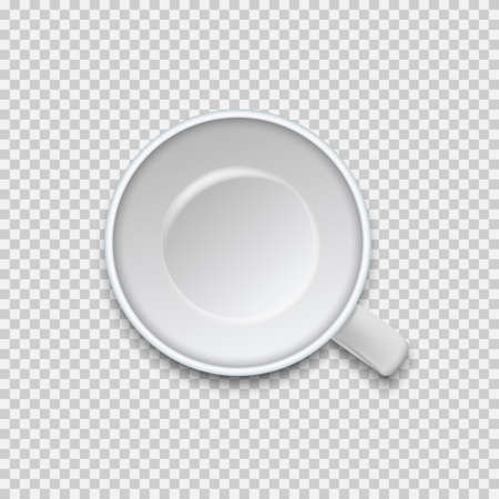 Top view of empty coffee cup isolated on white background. Vector illustration. Vector Illustration