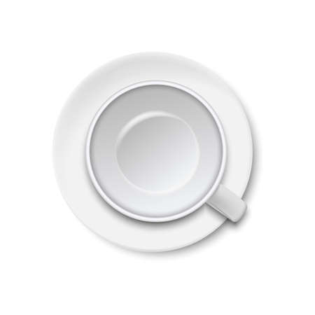 Top view of empty coffee cup isolated on white background. Vector illustration. Ilustração