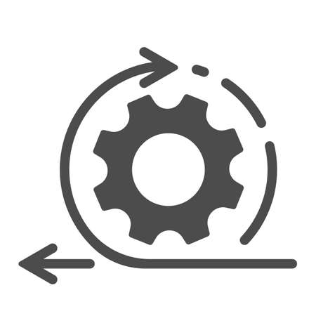 Agile process line icon. Gear, arrow, circle, cycle