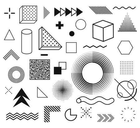 Memphis, set of abstract geometric shapes. Retro elements