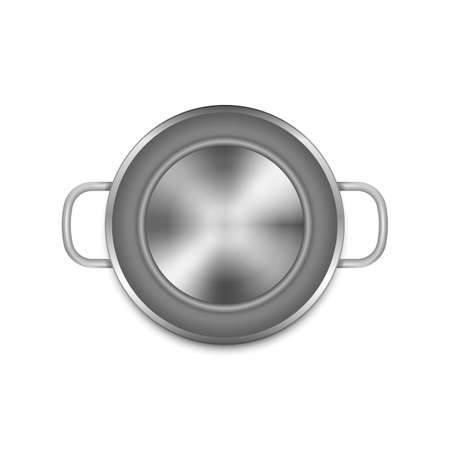 Stainless steel cooking pot isolated on white background. Vector illustration.