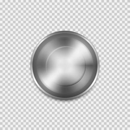 Stainless steel empty plate, Top view isolated on transparent background. Vector illustration.