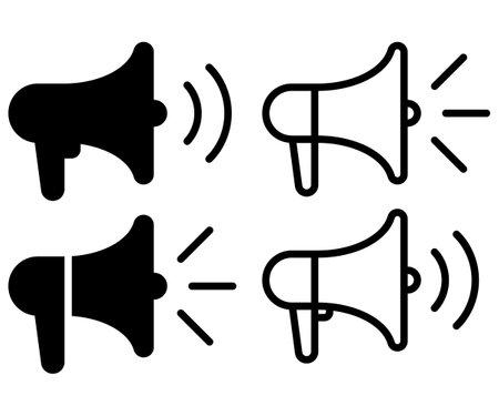 Loudspeaker icon. Set of Megaphone symbol. Ilustração