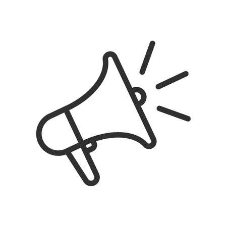 Loudspeaker line icon. Megaphone symbol.