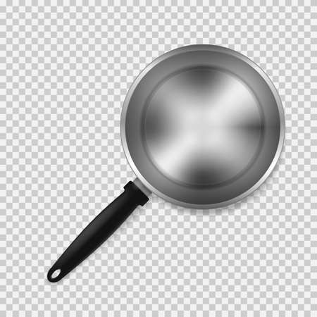 Top view of empty frying pan isolated on transparent background. Ilustração