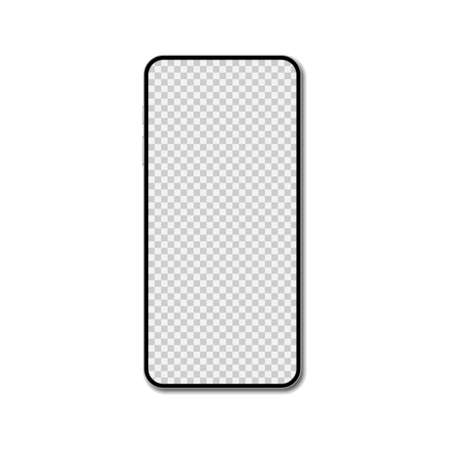 Smartphone blank screen, phone mockup isolated on white background.