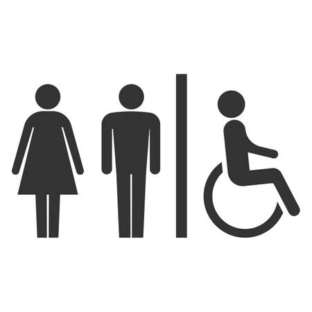 Toilet icons. Man, woman, handicap. Restroom, bathroom in a public area, navigation