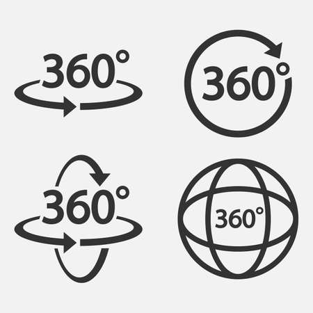 Set of 360 Icon. 360 degree view symbol Vector illustration.