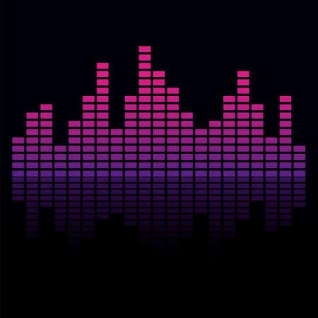 Frequency audio waveform, music wave HUD interface elements, voice graph signal. Vector illustration. Eps 10. Ilustração