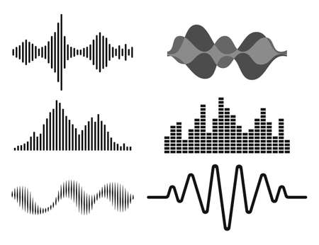 Frequency audio waveform, music wave HUD interface elements, voice graph signal. Vector audio electronic wave set. Vector illustration.