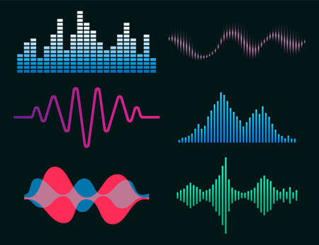 Frequency audio waveform, music wave HUD interface elements, voice graph signal. Vector audio electronic color wave set. Vector illustration. Eps 10.