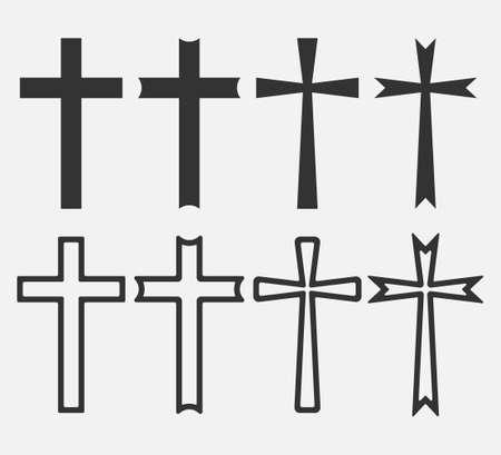 Set of Christian Cross icon app, UI. Vector illustration.