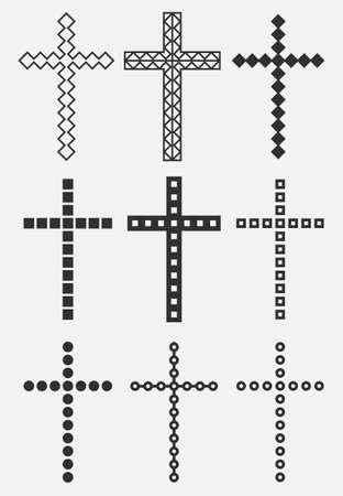 Christian Cross icon app, UI. Vector illustration. 向量圖像