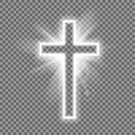 Christian heaven. Holy light glow effect. Vector shine symbol of christianity illustration. Vector illustration. 向量圖像