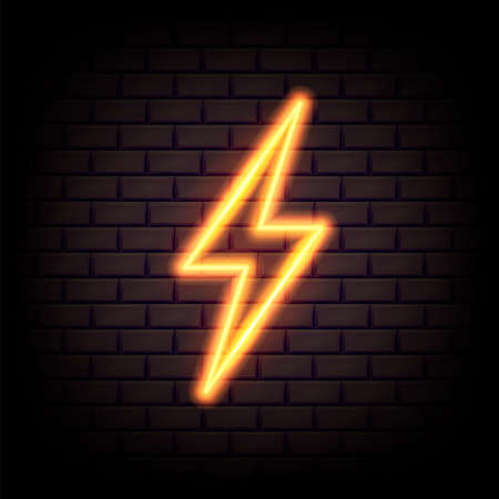 Realistic yellow 3d neon energy sign. Lightning bolt for decoration banner. Vector illustration.