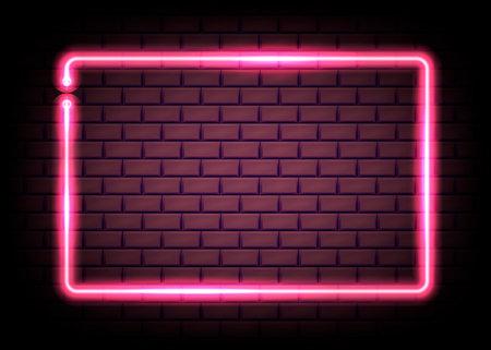 Neon rectangle frame or neon lights sign. Vector illustration. Eps 10. Ilustração