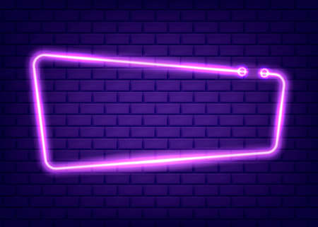 Neon rectangle frame or neon lights sign. Vector illustration.