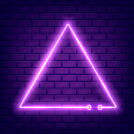 Neon glowing triangle on dark isolated. Vector illustration.