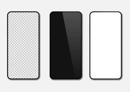 Realistic smartphone mockup set. Cellphone display front view mock up. Vector illustration. Eps 10. Ilustração