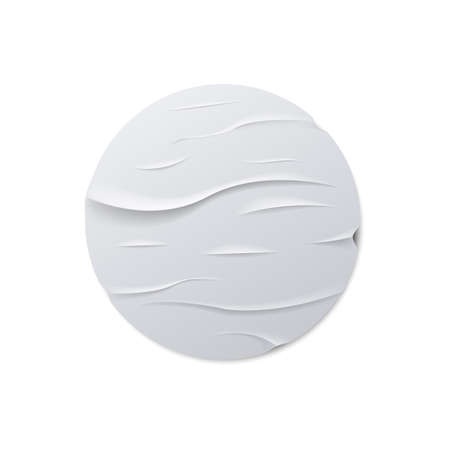 Round crumpled sticker mock up. Vector illustration.