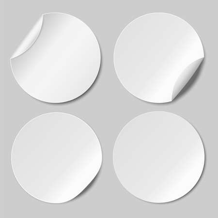 Set of Round paper stickers template. Vector illustration. Web banner. Eps 10.