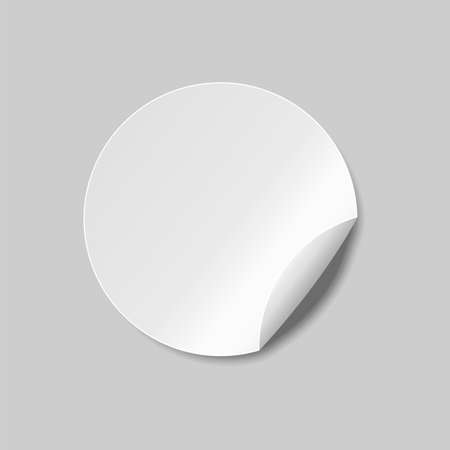 Round sticker. Round peel off paper sticker with shadow. isolated on white background. Vector illustration. Eps 10