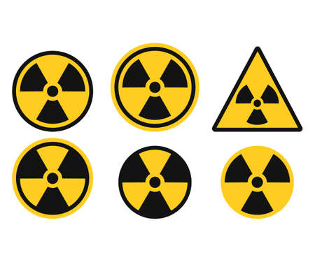 Set of radiation symbol. Radiation warning icon. Vector illustration. Eps 10.