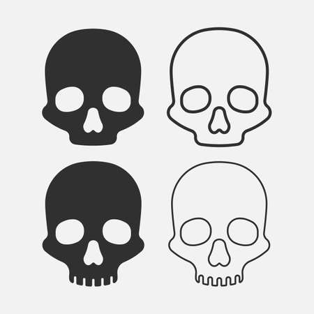Set of skull icon isolated on white background. Vector illustration.