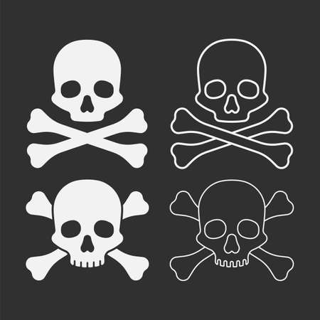 skull with bones isolated on white background. Vector illustration.