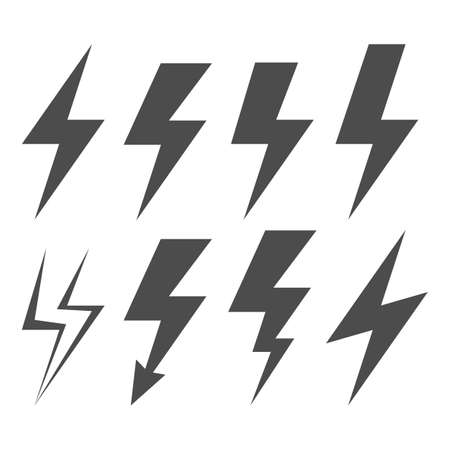 Lightning Electric Icon. Set of energy and thunder electric icon. Vector illustration