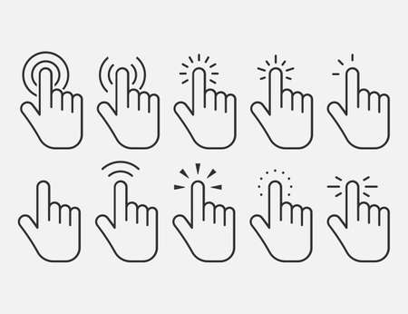 Set of hand clicking icons. Click finger pointer. Vector illustration. Eps 10.