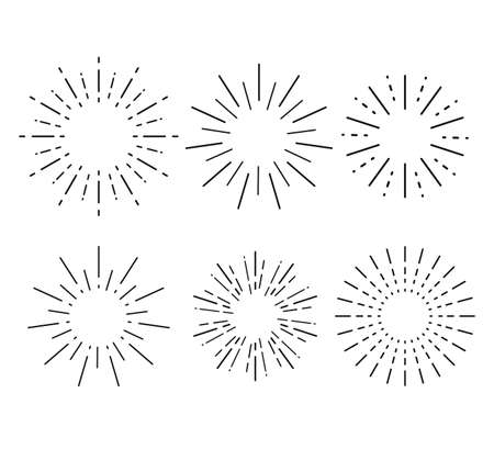 Sunburst set. Collection sunburst, star, firework explosion. Vector illustration