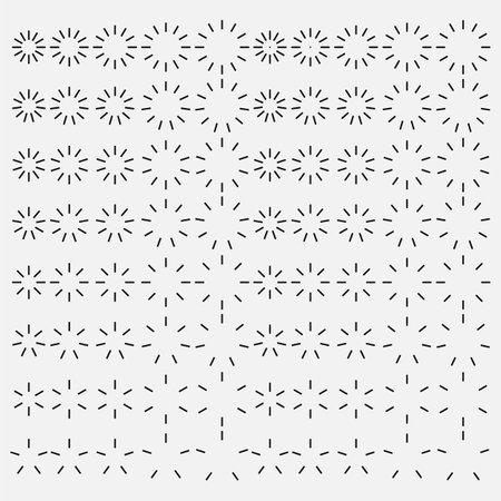 Starburst and sunburst radial effect set. Vector illustration. Eps 10.